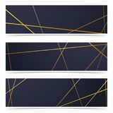 Abstract Thin golden lines pattern cards collection Royalty Free Stock Image