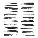 Abstract thin strokes black ink on white Stock Photos