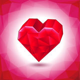 Abstract three-dimensional red heart triangles Royalty Free Stock Photo