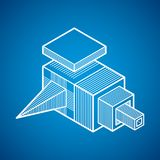 Abstract three-dimensional shape, vector design cube element. Royalty Free Stock Image