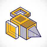 Abstract three-dimensional shape, vector design cube element. Stock Photo