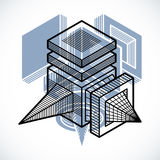 Abstract three-dimensional shape, vector design cube element. Royalty Free Stock Photos