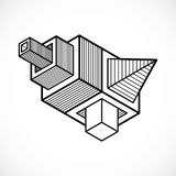 Abstract three-dimensional shape, vector design cube element. Stock Photography