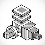 Abstract three-dimensional shape, vector design cube element. Modern geometric art illustration Stock Photo