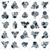 Abstract three dimensional shapes set, vector designs. Abstraction, special artistic shape vector illustration