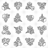 Abstract three dimensional shapes set, vector designs. Abstraction, special artistic shape royalty free illustration
