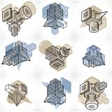 Abstract three-dimensional shapes set, vector designs. Abstraction, special artistic shape Vector Illustration