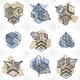 Abstract three-dimensional shapes set, vector designs. Royalty Free Stock Images
