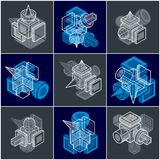 Abstract three-dimensional shapes set, vector designs. Stock Photography
