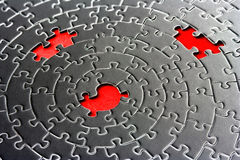 Abstract of three missing pieces in a jigsaw. Focus is on the center hole - adobe RGB Royalty Free Stock Photo