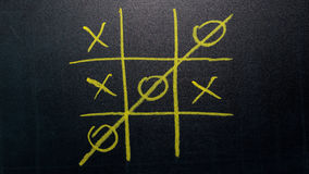 Abstract Tic Tac Toe Game Competition. XO Win Challecge Concept on black board Royalty Free Stock Images