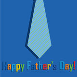 Abstract tie. With happy father's day text on blue background Royalty Free Stock Photography