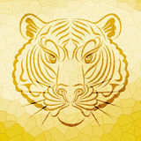 Abstract tiger face design. On crystal pattern background , tiger face, wild animal royalty free illustration