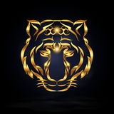Abstract tiger. Abstract gold tiger with dark background. illustration and Stock Photo