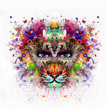 Abstract tiger head. Colorful illustration of  tiger, with cun on graphic background Vector Illustration
