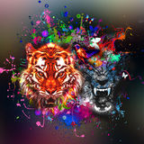 Abstract tiger head. Colorful illustration of tiger, with cun on graphic background Royalty Free Illustration