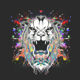 Abstract tiger head. Colorful illustration of tiger, with cun on graphic background Stock Illustration