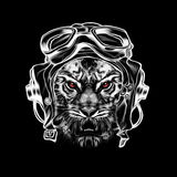 Abstract tiger head. Tiger in vintage pilot hat Royalty Free Illustration