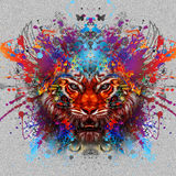 Abstract tiger head. Tiger in vintage safari background Royalty Free Illustration