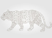 Abstract tiger image dark outline on a white background. Contour illustration of abstract tiger, on a white background Stock Photos