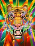 Abstract Tiger Portrait Digital Painting Royalty-vrije Stock Fotografie