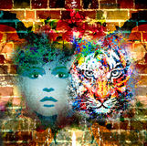 Abstract tiger and woman face background. In wall stock illustration