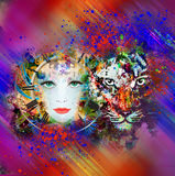Abstract tiger and woman face. On colorful background stock illustration