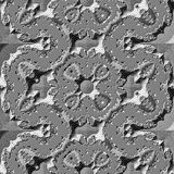 Abstract tile with metallic silver embossed layered patterns Stock Photo