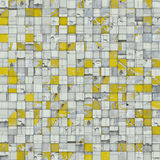 Abstract tile mosaic backdrop in yellow white. 3d abstract tile mosaic backdrop in yellow white Royalty Free Stock Image