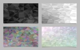 Abstract tile triangle mosaic card background set - modern polygonal vector design collection Stock Photos