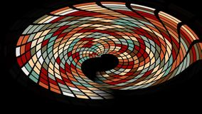 Abstract tiled multicolored shape with tunnel effect on black background. FullHD video 1920x1080 stock footage