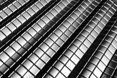 Abstract tiles silver aluminum background. With reflection 3d illustration Royalty Free Stock Images