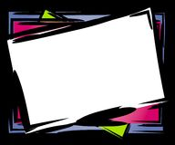 Abstract Tilted Frame Border. A clip art frame or border in chunky black outlines tilted with white, pink and blue Stock Photos