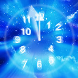 Abstract Time Clock Sky Stars. An abstract time clock background with numbers, clock hands, stars and space Royalty Free Stock Photo