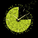 Abstract Time is flying. Abstract Green Time is flying on black background vector illustration
