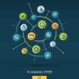 Abstract time management, planning background. Digital connect system with integrated circles, flat thin line icons. Abstract time management, planning stock illustration