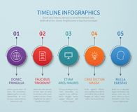 Abstract timeline vector infographics with business process steps. Illustration of timeline chart and step graphic Royalty Free Stock Photography