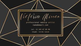 Abstract tirangles low poly business card. Geometric black shapes, gold gradient, makeup artist template conceptual  illustration Royalty Free Stock Photos