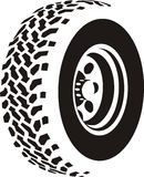 Tire illustration. Illustration of silhouetted tire showing tread pattern, white background vector illustration