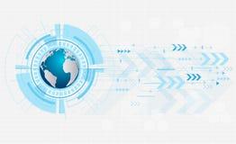 Abstract toekomstig digitaal technologieconcept op witte achtergrond, wereldkaart in oogappel, vector, illustratie Stock Afbeelding