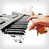 Abstract toetsenbord van de Waterverf van de pianovoorgrond Stock Afbeeldingen