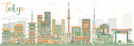 Abstract Tokyo Skyline with Color Buildings. Vector Illustration. Business Travel and Tourism Concept with Modern Architecture. Image for Presentation Banner royalty free illustration