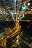 Abstract Tolls way, expressway night time and building backgroun Royalty Free Stock Photos