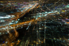 Abstract Tolls way, expressway night time and building backgroun Stock Photo