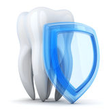 Abstract tooth and shield protect Stock Images