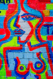 Abstract topless lady graffiti. A multi-coloured lady nude, abstract graffiti, Shoredirch, London Royalty Free Stock Photo