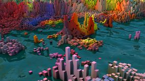 Abstract topography and colors. 3d rendering. Abstract topography and colors Royalty Free Stock Image