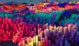 Abstract topography and colors. 3d rendering. Abstract topography and colors Royalty Free Stock Photos