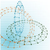 Abstract torus dotted lines connected to graphics. Abstract torus dotted lines connected to graphics and dots Stock Photo