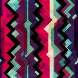 Abstract totem seamless pattern with grunge effect Stock Image